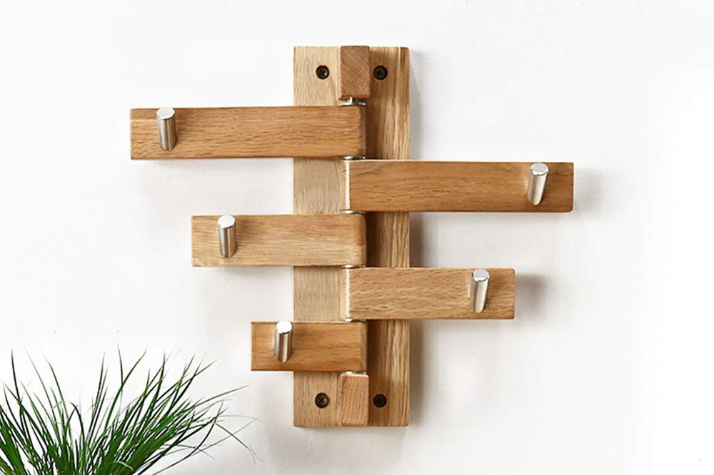 جالباسی دیواری چوبی شاخه ای