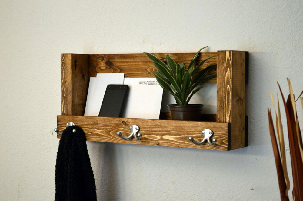جالباسی دیواری چوبی شلف دار