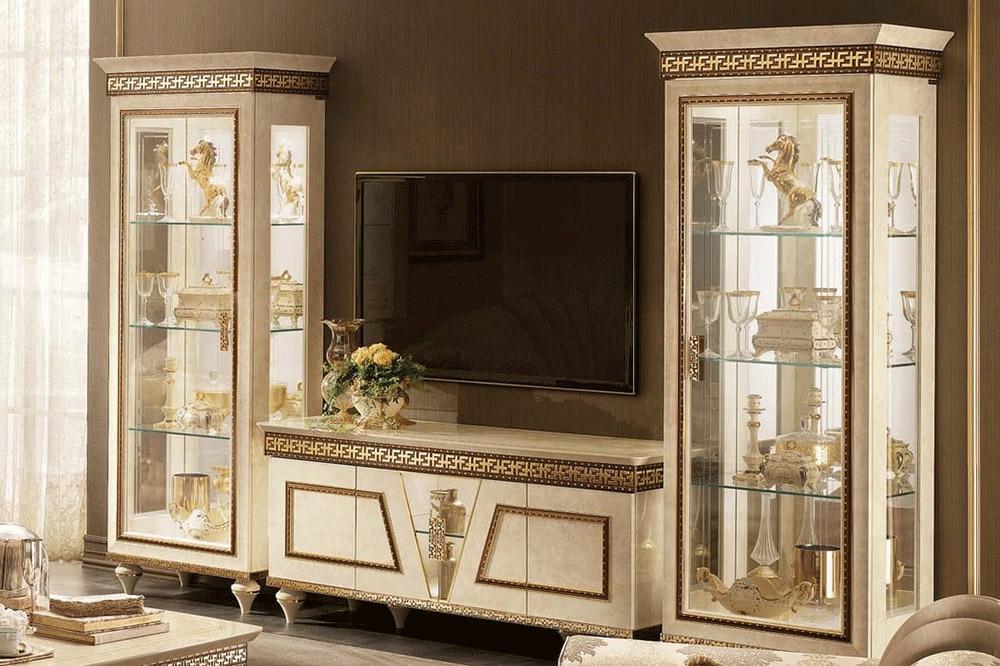 میز تلویزیون کلاسیک سفید به همراه برج های دوقلو