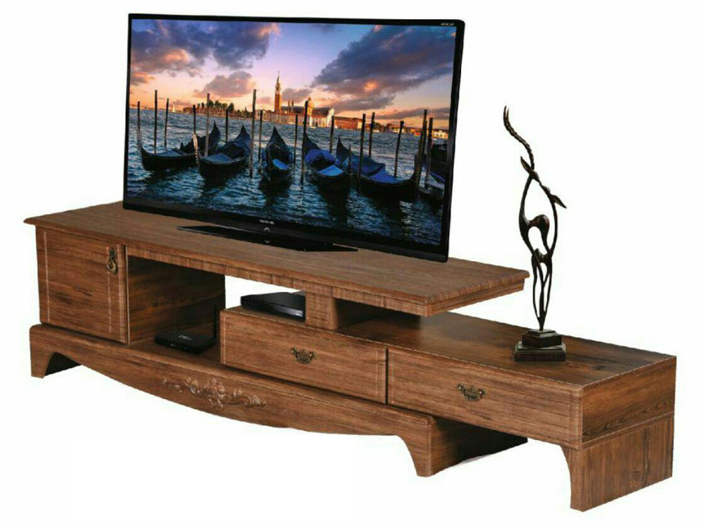 میز تلویزیون سه تیکه: چوبی