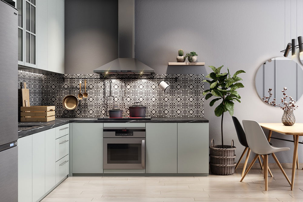 مدل کابینت برای آشپزخانه مستطیل: مدل L