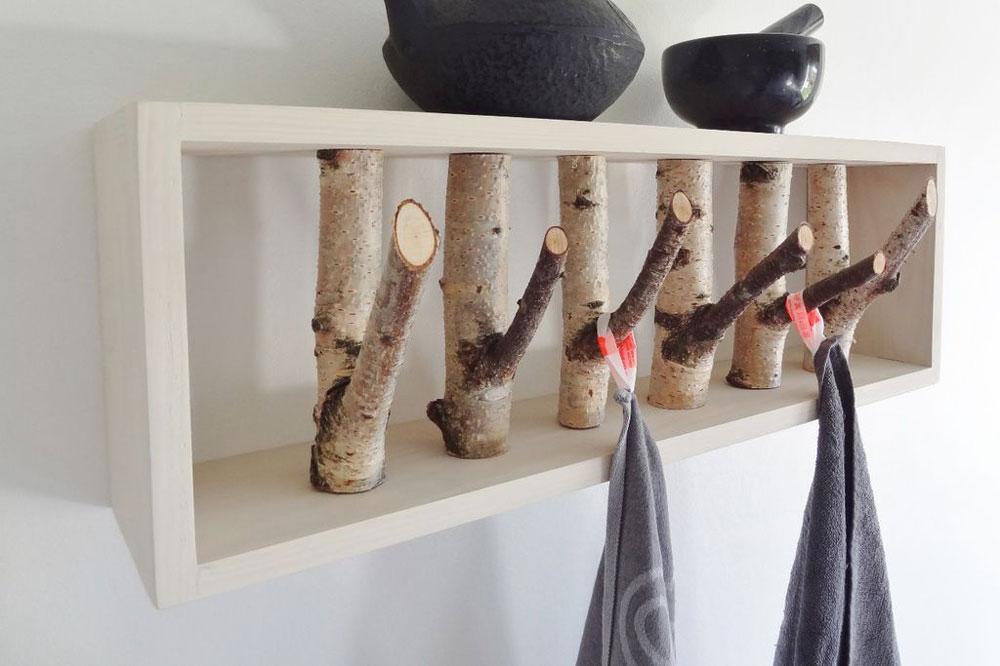 مدل جالباسی دیواری چوبی: طرح شاخه درخت