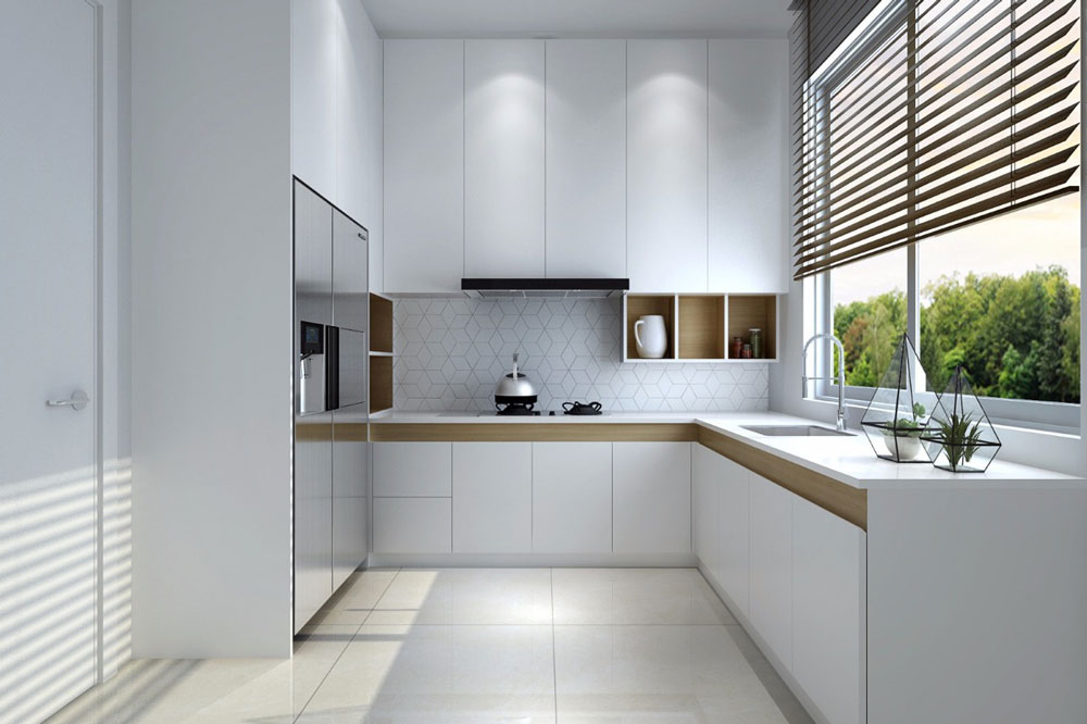 مدل کابینت برای آشپزخانه مستطیل: مدل G