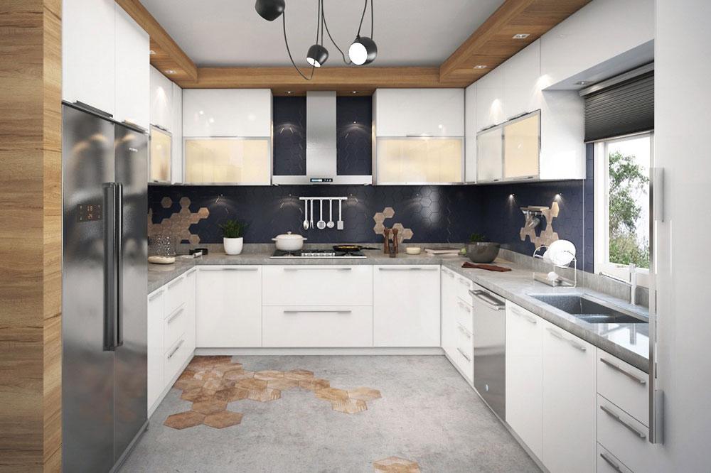 مدل کابینت برای آشپزخانه مستطیل: مدل U