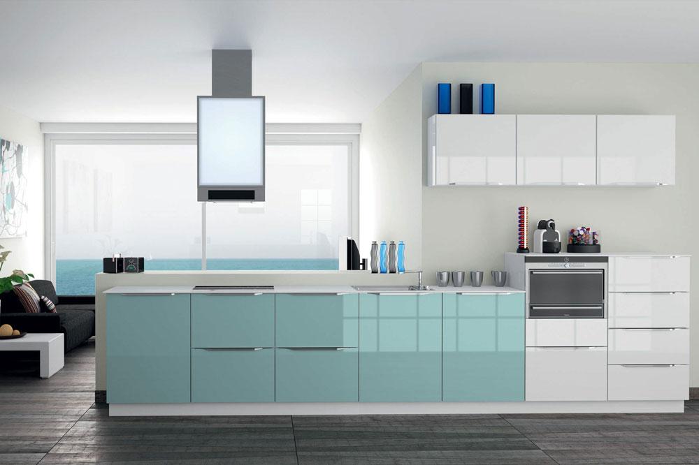 ترکیب رنگ کابینت های گلاس: سفید آبی فیروزه ای