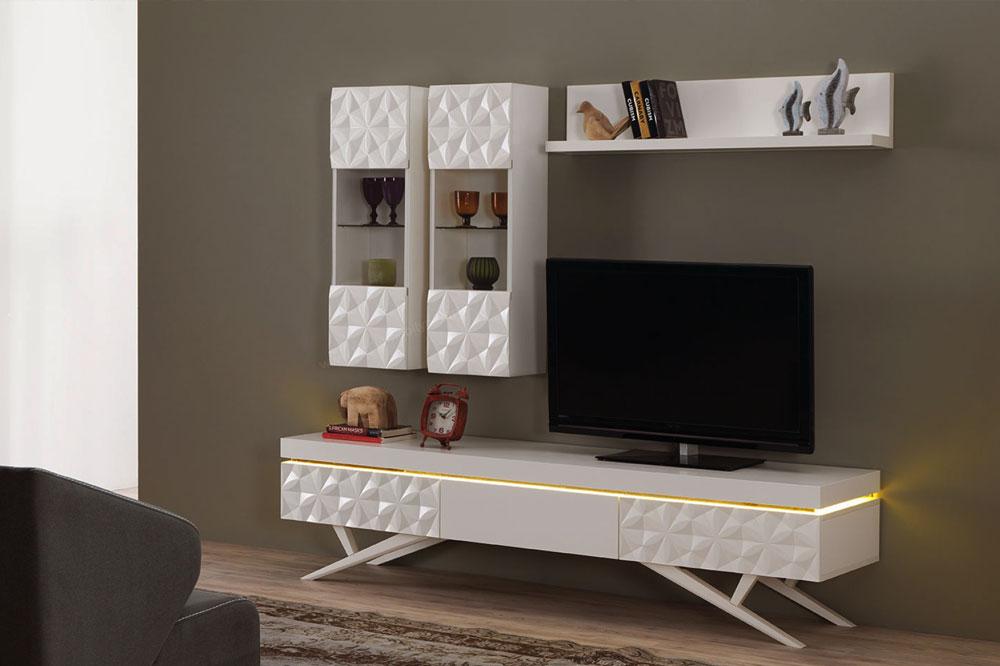 میز تلویزیون چوبی سفید