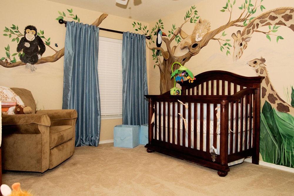 دکوراسیون اتاق خواب پسرانه : کاغذ دیواری جنگلی در اتاق خواب