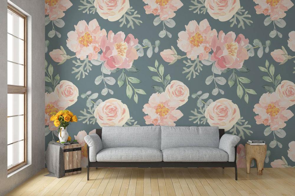 دکوراسیون داخلی منزل : طراحی با پس زمینه گل