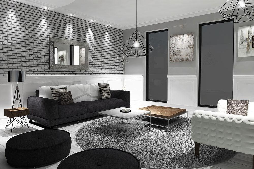 دکوراسیون داخلی منزل : طراحی سیاه و سفید