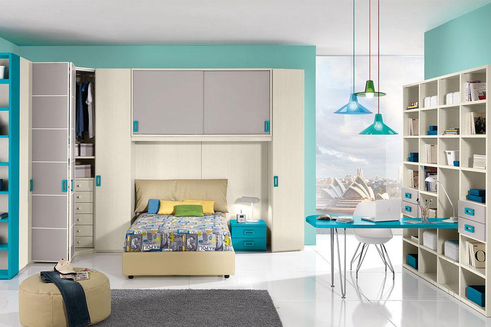 مدل اتاق خواب با کمدها و قفسه های توکار