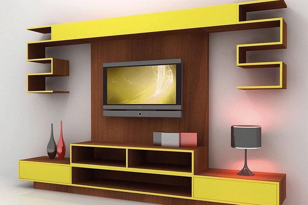 زیبایی رنگ ها در یک میز تلویزیون دیواری ام دی اف