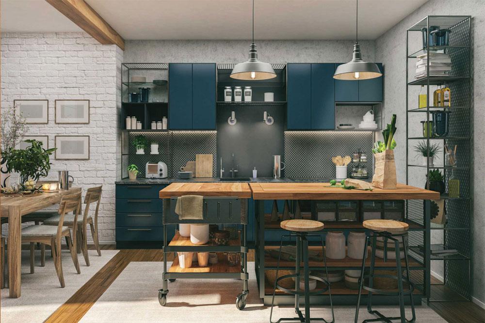 مدل اپن آشپزخانه جزیره ای چوبی