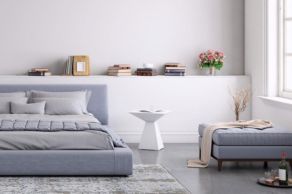 خاکستری کم رنگ برای رنگ اتاق خواب بزرگسال