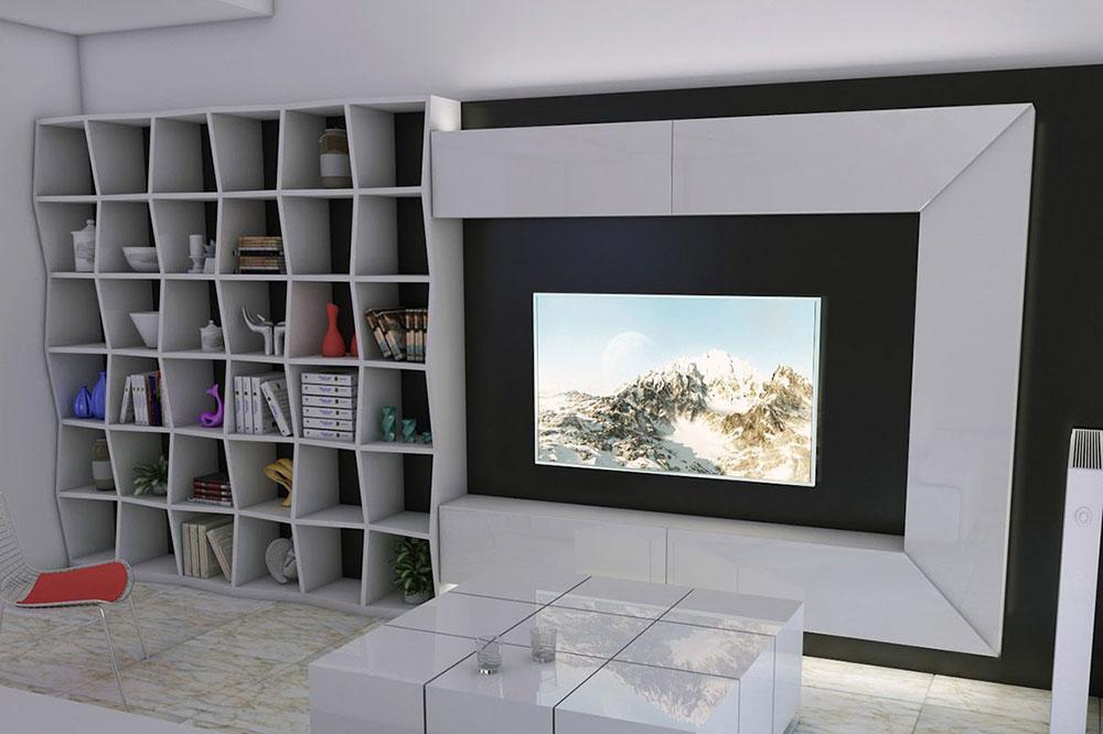 میز تلویزیون دیواری برای خانه کوچک همراه با قفسه بندی شیک