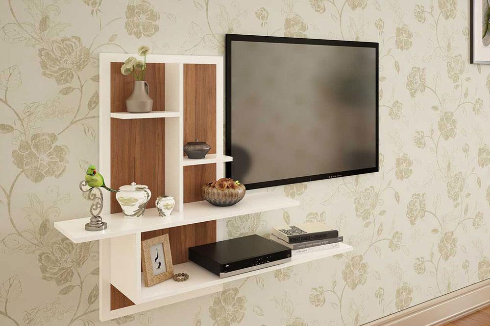 میز تلویزیون چسبیده به دیوار با طرحی ساده!