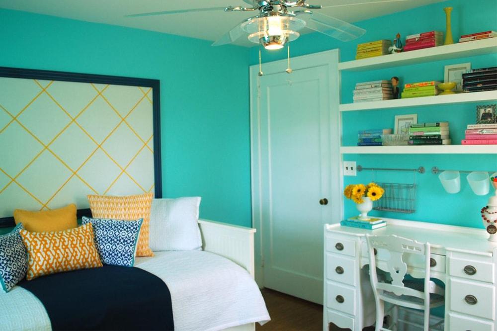 سبز فیروزه ای برای رنگ اتاق خواب بزرگسال