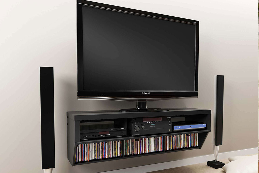 میز تلویزیونی دیواری با کتابخانه کوچک!