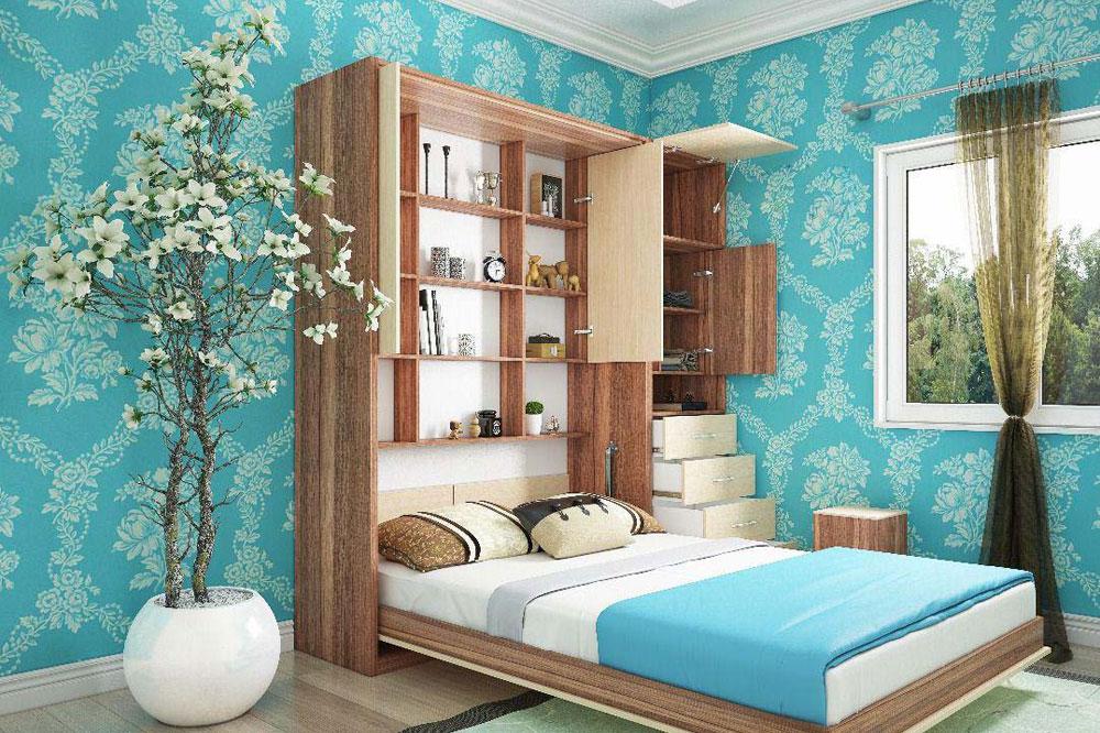 تخت تاشو در اتاق بزرگ