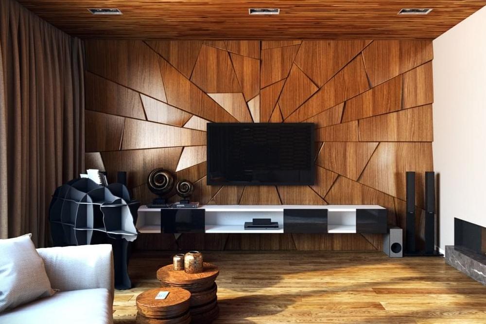 میز تلویزیون دیواری برای خانه کوچک با پشت زمینه ی چوبی
