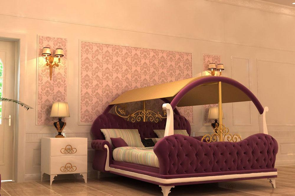 مدل تخت خواب عروس و داماد مسقف