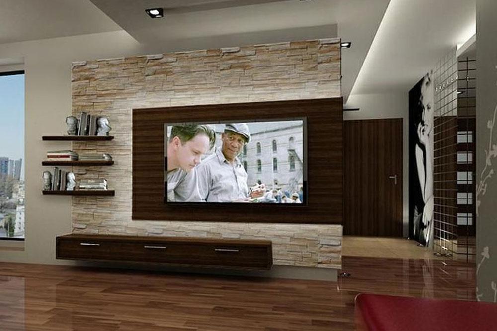 میز تلویزیون دیواری برای خانه کوچک همراه با سنگ های تزیینی!