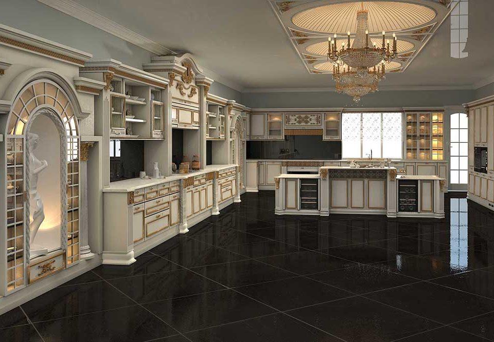 دکوراسیون لوکس چوبی آشپزخانه