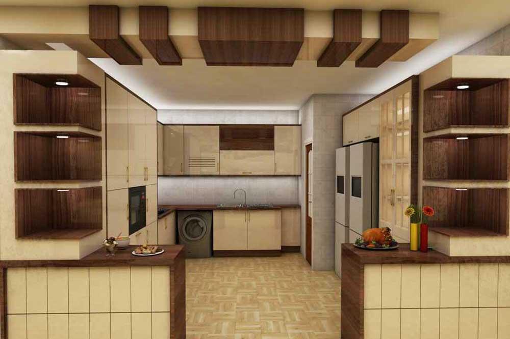 آشپزخانه با المان سقفی