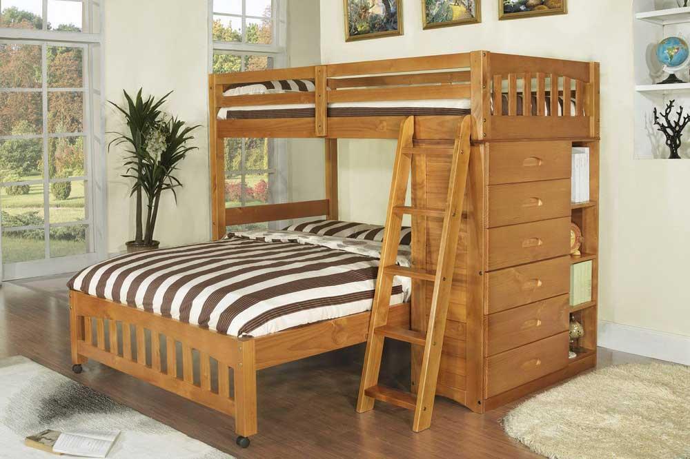 تخت دو طبقه چوبی