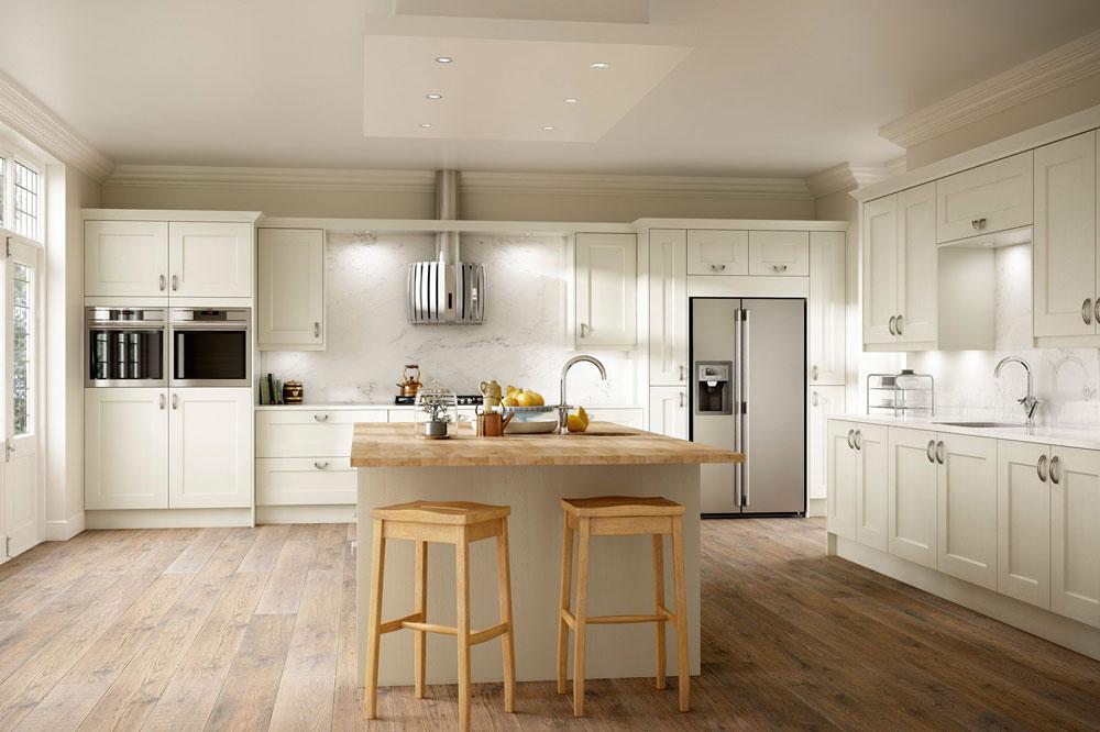 آشپزخانه شیک با ترکیب نور و رنگهای جذاب