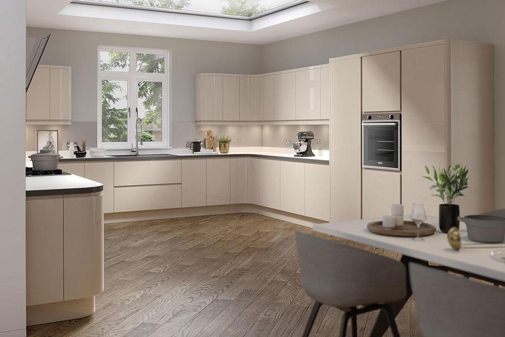 انعکاس نور و شکست تک رنگی کابینت آشپزخانه هایگلاس