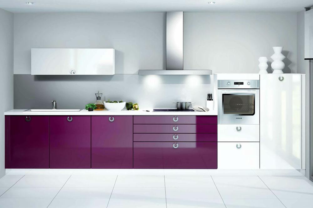 کابینت آشپزخانه هایگلاس با ترکیب دو رنگ متضاد