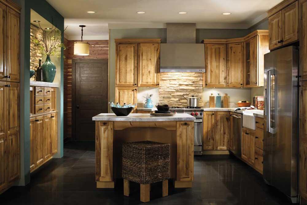 ترکیب سنگ و چوب، زیبایی آشپزخانه ها