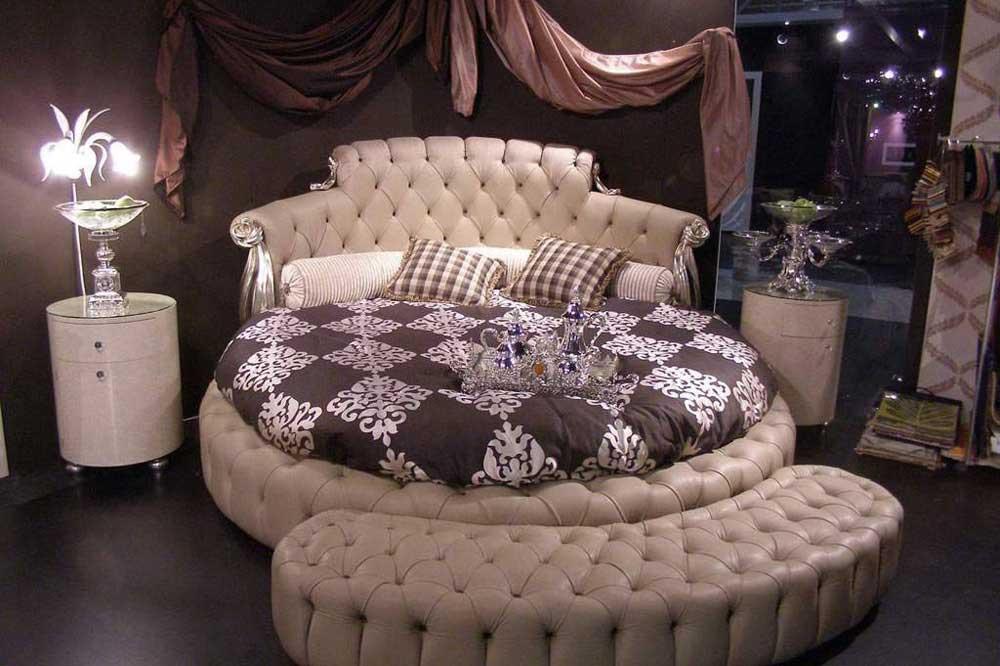 تخت دو نفره گرد کانون زیبایی اتاق خواب