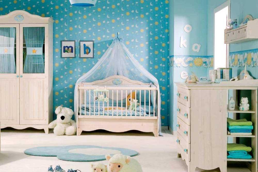 انتخاب رنگی مناسب برای سرویس خواب نوزاد پسر