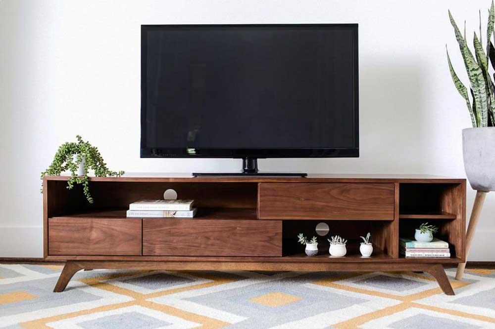 مدل میز تلویزیون چوبی زمینی