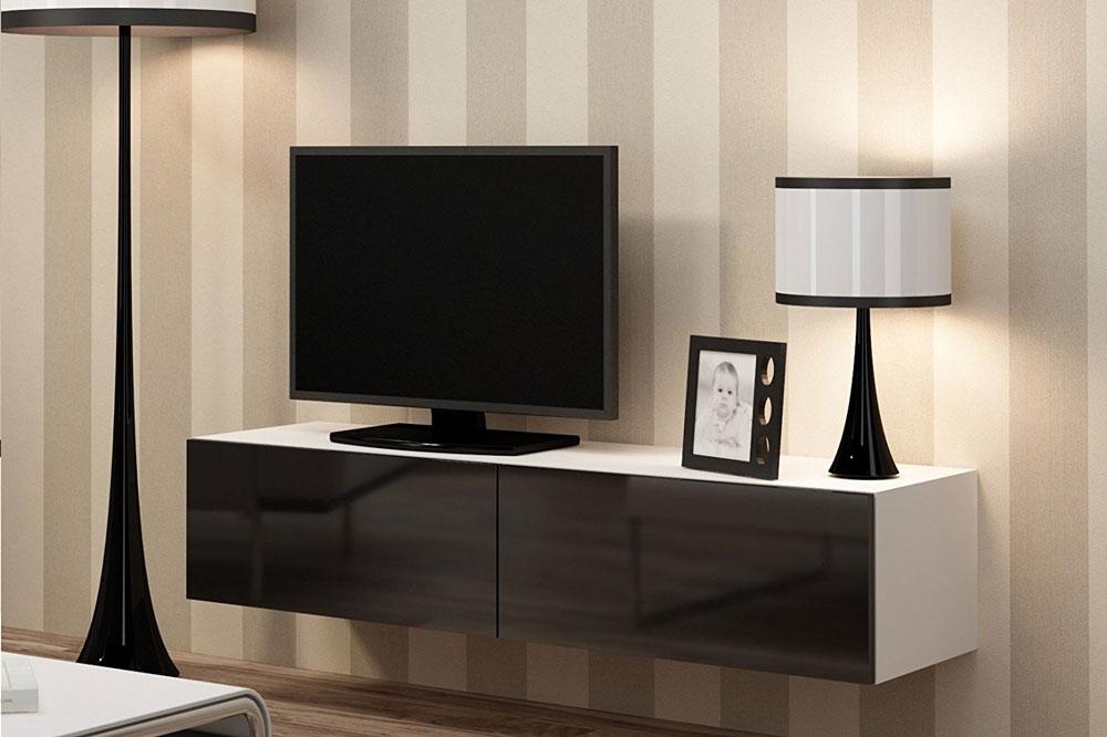 تضاد رنگ ها و زیبایی یک میز تلویزیون دیواری ساده