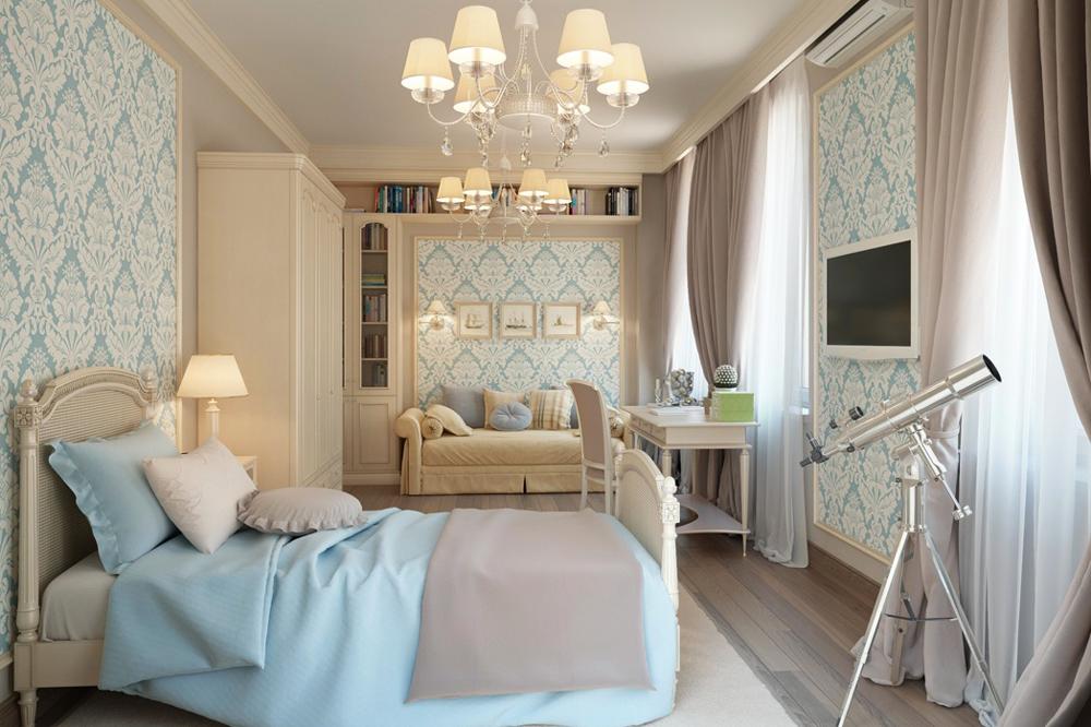 اتاق خواب کلاسیک با تخت یک نفره