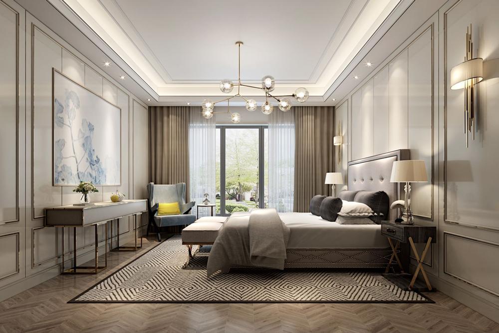 اتاق خواب کلاسیک بژ رنگ