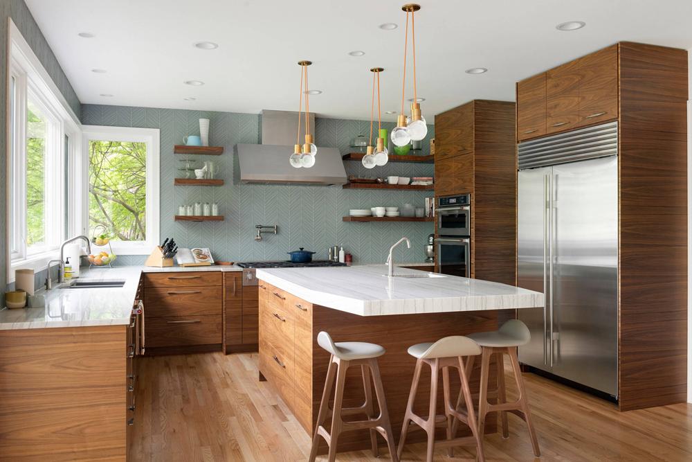 کابینت آشپزخانه مدرن: چوب با رویه سفید