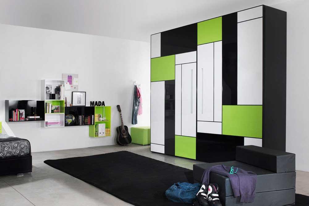 کمد اتاق نوجوان: فضای ذخیره سازی بیشتر در نهایت زیبایی