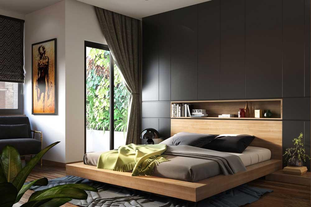 تخت خواب دو نفره مدرن با پایه های مخفی