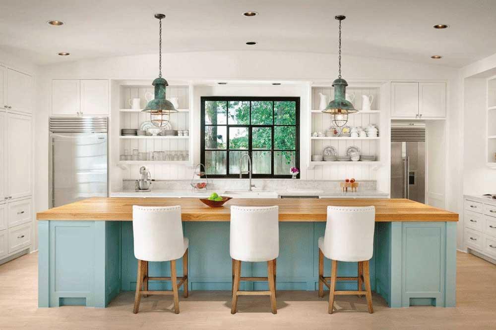 طرح های کابینت آشپزخانه mdf: بافت ها و جنس ها