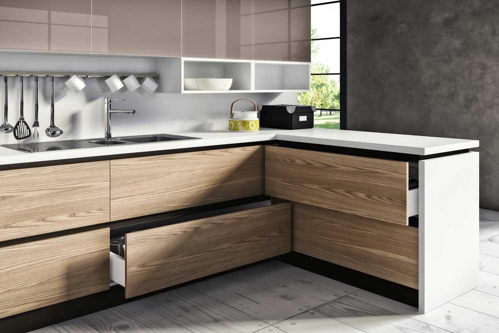 طرح های کابینت آشپزخانه mdf : دستگیره مخفی