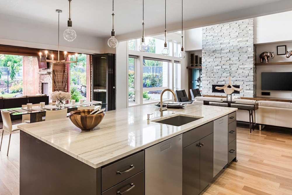 آشپزخانه باز طراحی مدرن خانه