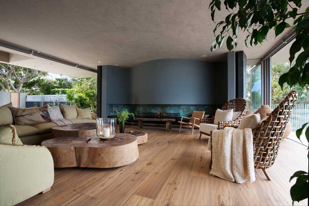 پذیرایی در دکوراسیون داخلی منزل با چوب