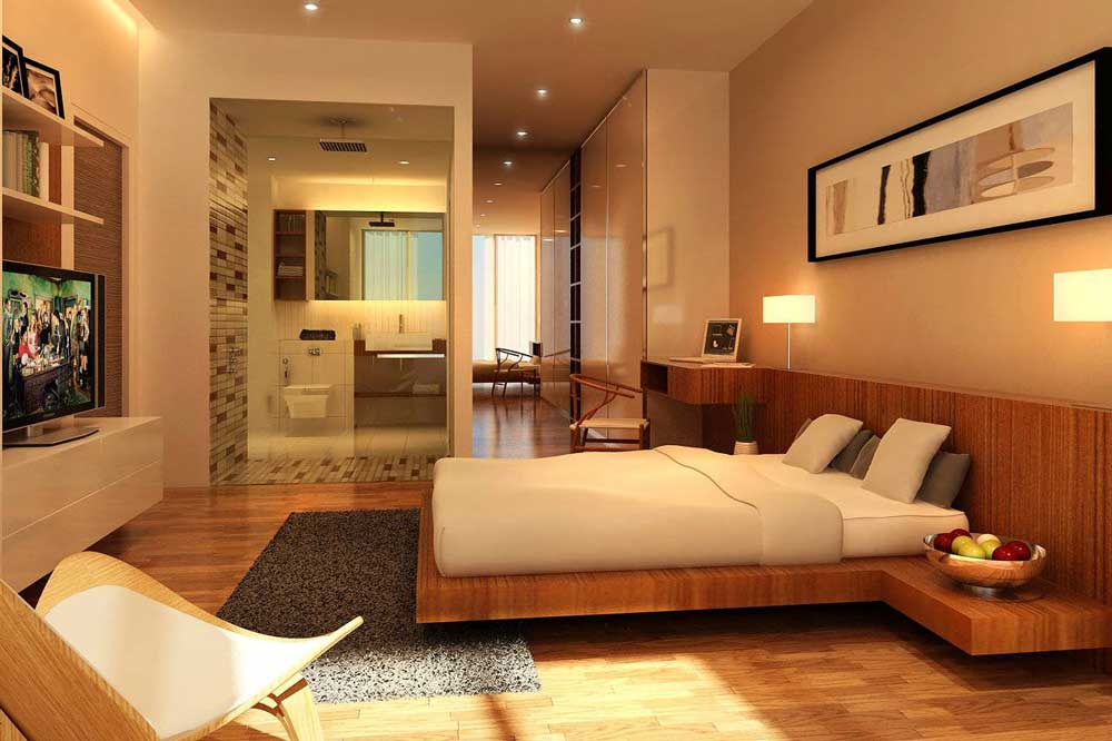 اتاق خواب در دکوراسیون داخلی منزل با چوب