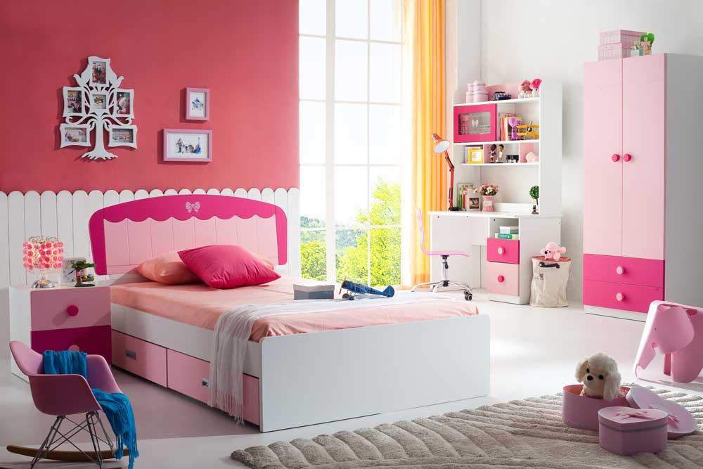 تخت خواب یک نفره دخترانه mdf : صورتی رنگ