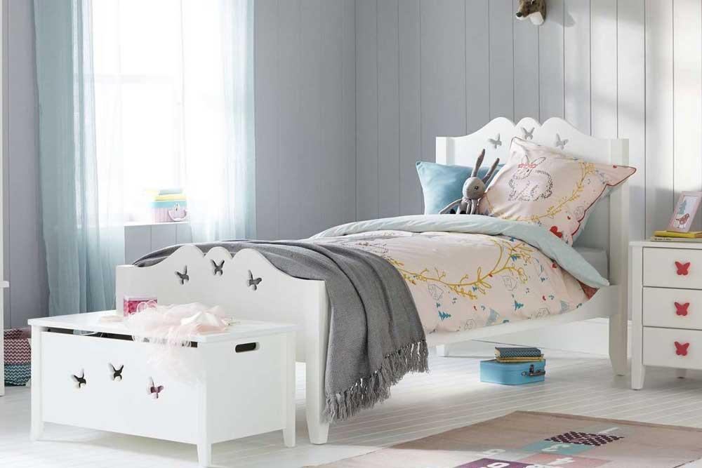 تخت خواب یک نفره دخترانه mdf : پروانه ای