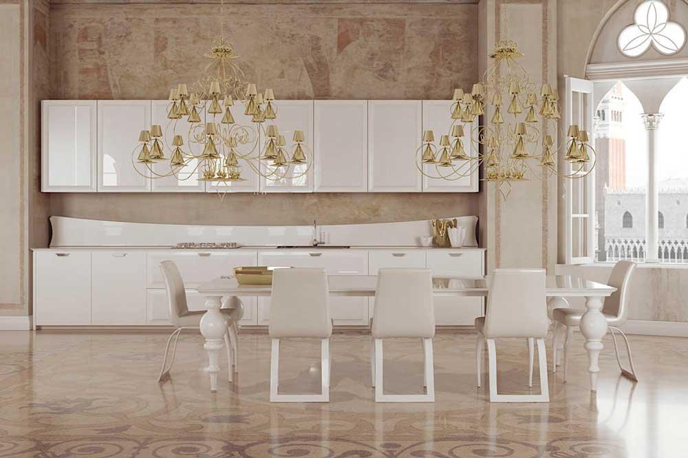 کابینت های گلاس سفید طلایی