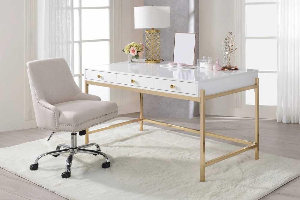 میز های گلاس سفید طلایی
